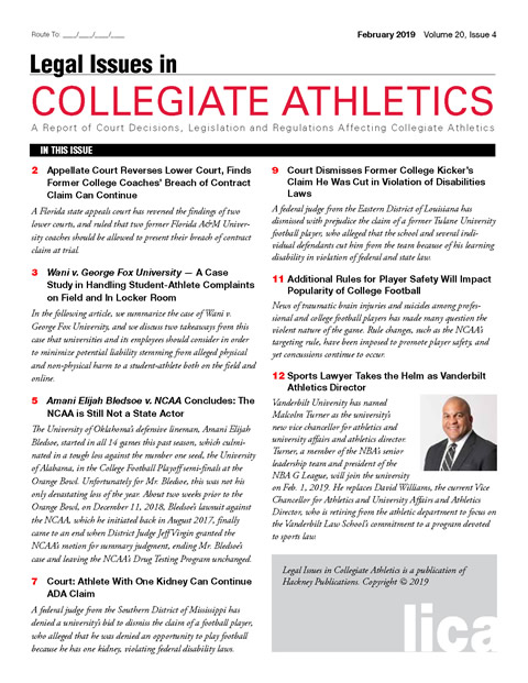 Legal Issues in Collegiate Athletics