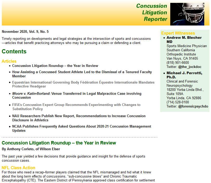 Concussion Litigation Reporter