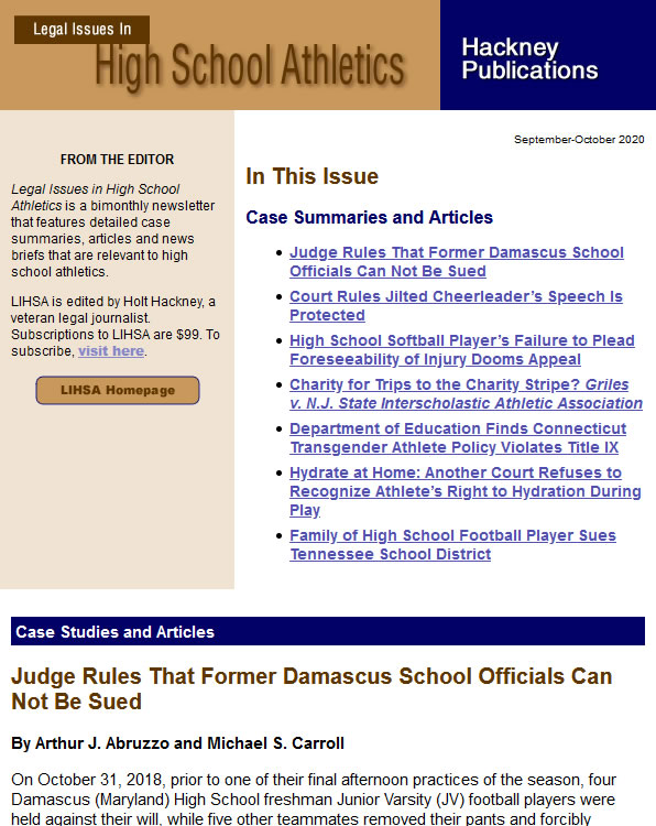 Legal Issues in High School Athletics