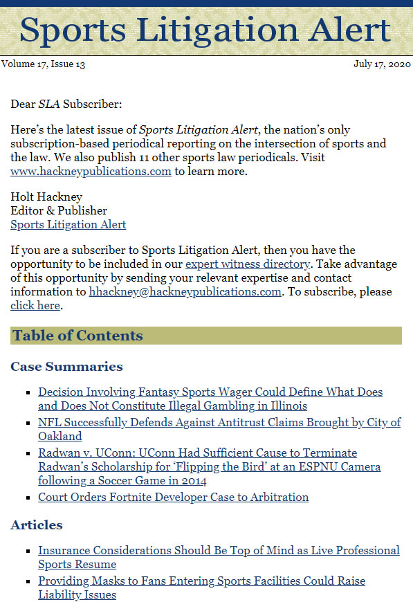 Sports Litigation Alert